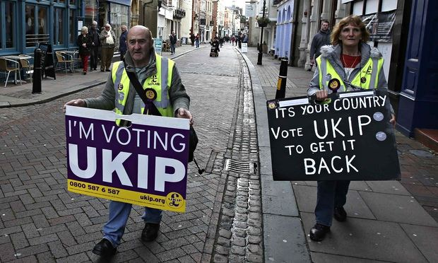 Ukip supporters canvassing for votes in Rochester. One supporter likened the EU to Hitler